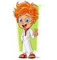 Cartoon cute redhead boy with blue eyes vector image