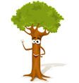 cartoon spring tree character vector image vector image