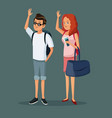 cartoon traveler couple happy with backpacks vector image vector image