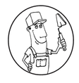 Cartoon Worker with tool circle logo vector image vector image