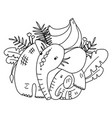 coloring page for kids with cute mother elephant vector image