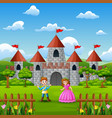 couple a princess and prince in front of the castl vector image vector image