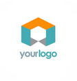 cube business logo vector image vector image