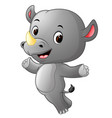 cute happy rhino jumping vector image vector image