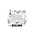 cute rhinoceros flat hand drawn vector image vector image