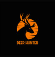 deer hunter sunset logo vector image vector image