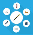 flat icon tool set of knife dossier copybook and vector image vector image
