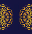 golden mandala on blue background round mandala vector image vector image