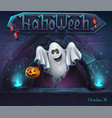 halloween background with ghost with pumpkin vector image vector image