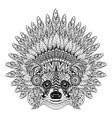 Hand Drawn Raccoon in Feathered War bonnet in vector image vector image