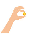 hand holding in his hand gold coin business vector image vector image