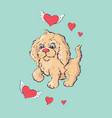 happy cartoon puppy sitting portrait of cute vector image