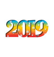 happy new year card 3d number 2019 with vector image vector image