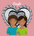 heart with lovers couple avatars characters vector image vector image