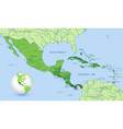 high detail central america green map set vector image