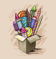 large colorful festive fireworks in cardboard box vector image vector image