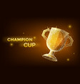 low poly trophy cup wireframe style concept vector image
