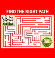 maze game find a panda s way to bamboo garden vector image vector image