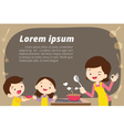 mother daughter and son cooking vector image vector image