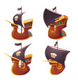 pirate ship set isolated on white background vector image vector image