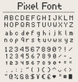 pixel font alphabet letters and numbers retro vector image vector image