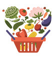plastic red supermarket shopping basket with fresh vector image