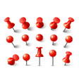 red pushpin top view thumbtack for note attach vector image