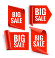 sale banner set realistic red glossy paper ribbon vector image vector image