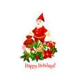 santa with christmas gift winter holidays card vector image vector image
