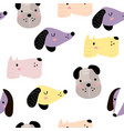 seamless childish pattern with dog animal faces vector image
