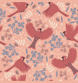 seamless pattern with birds red cardinals vector image