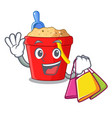 shopping beach bucket shape the fun character vector image
