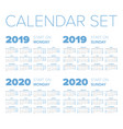 simple 2019-2020 year calendar set vector image