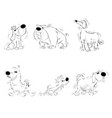 six sketches of dogs vector image vector image