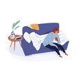 sleepy tired person on sofa waking up with cup vector image vector image