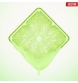 Square slice of lime with fresh juice vector image