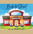 students at school with phrase back to school vector image vector image