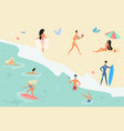 summertime cartoon people on vector image vector image