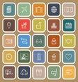 Trip line flat icons on brown background vector image vector image