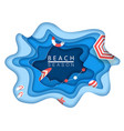 tropical beach in paper art style top view vector image vector image