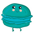 turquoise smiling macaroon on white background vector image