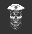 vintage skull in sea captain cap vector image