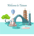 welcome to taiwan greeting card with landmarks vector image