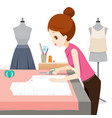 woman making clothes pattern vector image vector image