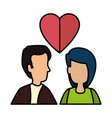young couple with heart love vector image