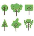 tree set flat icon green plant botany design eco vector image