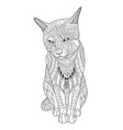 drawing cat for the coloring book for adults vector image