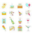 party celebration color line icon set vector image
