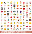 100 bachelorette party icons set flat style vector image vector image