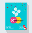 20th years anniversary invitation design vector image vector image